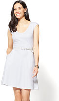 New York & Co. Cotton V-Neck Pocket Fit & Flare Dress
