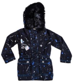Kinderkind Toddler, Little, and Big Girls Faux Fur Parka Utility Jacket with Splatter Print
