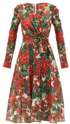 Dolce & Gabbana Geranium-print Silk-blend Midi Dress - Womens - Red Multi