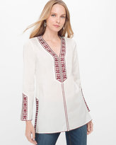 White House Black Market Cotton Voile Embroidered Tunic