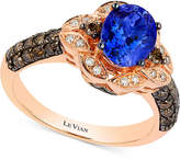 LeVian Le Vian Chocolatier® Blueberry Tanzanite (1 ct. t.w) and Diamond (2/3 ct. t.w) Ring in 14k Rose Gold, Only at Macy's