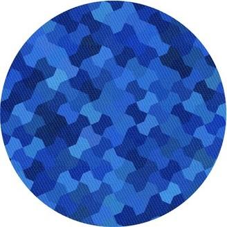 Blue Area Geometric Wool Light Rug East Urban Home Rug Size: Round 4'