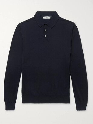 Mr P. Slim-Fit Merino Wool Polo Shirt - Men - Blue
