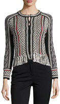 Oscar de la Renta Collarless Tweed Jacket with Fringe Trim, Black/Red/White