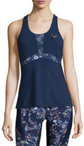 Lucas Hugh Selva Printed Technical-Knit Fitted Tank Top, Midnight Peru Print