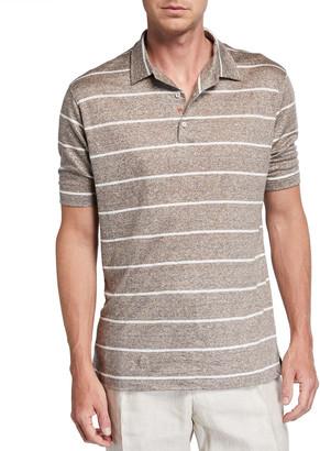 Isaia Men's Striped Linen-Effect Polo Shirt