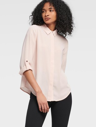 DKNY Women's Button-up Shirt With Roll-tab Sleeve - Blush - Size L