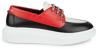 Alexander McQueen Colorblock Leather Boat Shoes