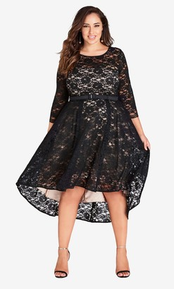 City Chic Black Lace Lover Dress Size 14/X-Small Polyester