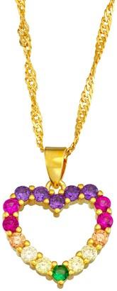 Junior Jewels Kids' Sterling Silver Rainbow Cubic Zirconia Heart Pendant Necklace