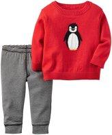 Carter's 2 Piece Penguin Set (Baby) - Red - Newborn