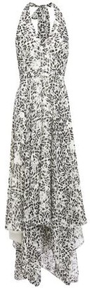 Halston Asymmetric Printed Georgette Halterneck Midi Dress