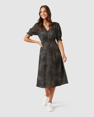 French Connection Shirred Detail Midi Dress