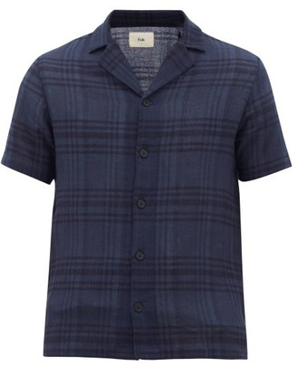 Folk Plaid Camp-collar Cotton-terry Shirt - Mens - Navy