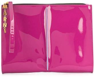 Marni letter chain glossy clutch