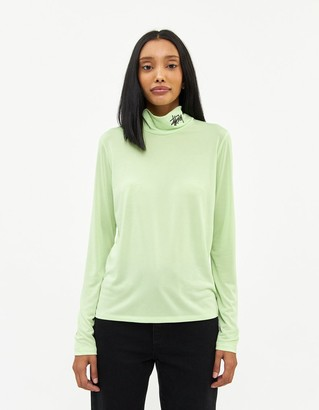 Stussy Women's Monty Tissue Mock Neck Top in Lime, Size Extra Small