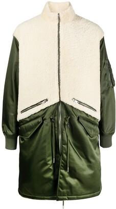 Givenchy Oversized Shearling Panel Coat