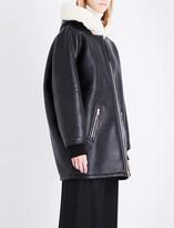 Stella McCartney Oversized faux-shearling hood faux-leather coat