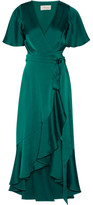 Temperley London Open-back Duchesse-satin Wrap Dress - Emerald
