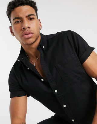 Asos DESIGN stretch slim organic denim shirt in black