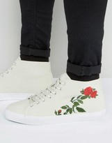 Asos Lace Up Sneakers In Off White With Floral Embroidery