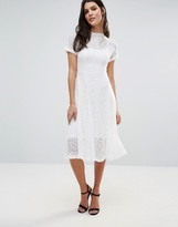 Goldie Romantics Ivory Lace Flared Midi Dress With Separate Ivory Slip