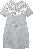 Joe Fresh Fair Isle Short Sleeve Metallic Sweater Dress (Toddler & Little Girls)