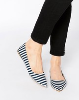 London Rebel Stripe Point Flat Shoes