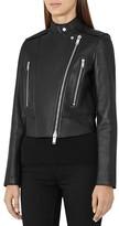 Reiss Phoebe Bonded Leather Jacket