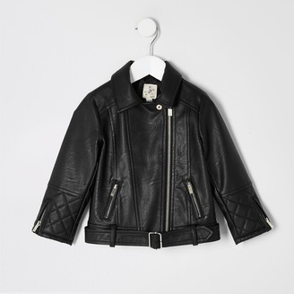 River Island Mini girls faux leather belted biker jacket