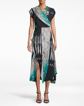Nicole Miller Shoji Stripe Surplice Midi Dress