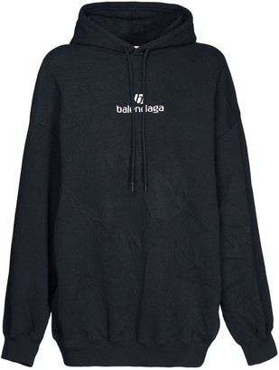 Balenciaga Oversized Logo Detail Cotton Hoodie