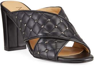 Neiman Marcus Bodile Studded Leather Crisscross Heel Sandals