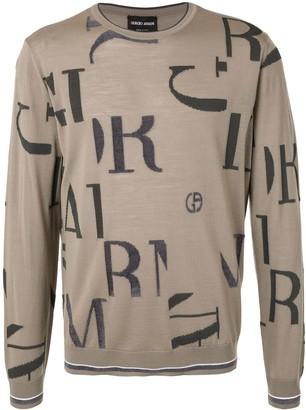Giorgio Armani Brand Letter Long Sleeve Jumper