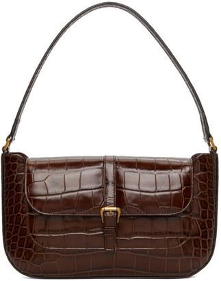 BY FAR Brown Croc Miranda Shoulder Bag