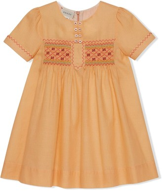 Gucci Kids Smock-Waist Poplin Dress