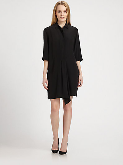Max Mara Weekend Drape-Front Silk Shirtdress