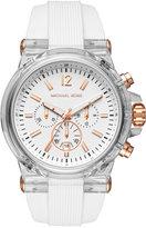 Michael Kors Men's Chronograph Dylan White Silicone Strap Watch 48mm MK8577