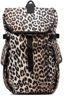 Ganni Brown Leopard Print Backpack