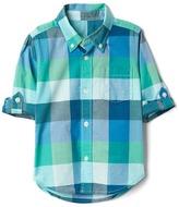 Gap Check madras convertible shirt