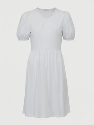 Very Jersey Puff Sleeve Peplum Mini Dress - White