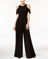 Teeze Me Juniors' Ruffled Cold-Shoulder Palazzo Jumpsuit