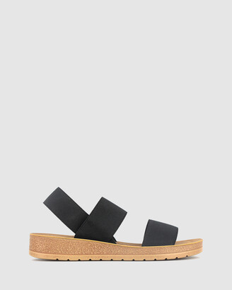 betts Women's Black Wedge Sandals - Rise Elastic Low Wedge Sandals - Size One Size, 6 at The Iconic