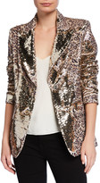 Berek Petite Sequin Leopard-Print Two-Button Blazer