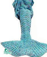 "Hughapy knitted Mermaid Tail Blanket for Adults Teens,Kids Crochet Snuggle Mermaid,All Seasons Seatail Sleeping Blanket (71""x32"", BL Mint)"