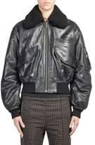 Haider Ackermann Shearling-Trim Leather Bomber Jacket
