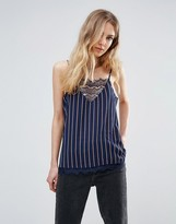 Ichi Lace Insert Cami In Stripe