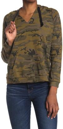 For The Republic Camo Print Hooded Raglan Sleeve Top