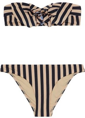 Zimmermann Jaya Frill Ruffled Striped Bandeau Bikini