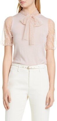RED Valentino Lace Puff Sleeve Wool Sweater